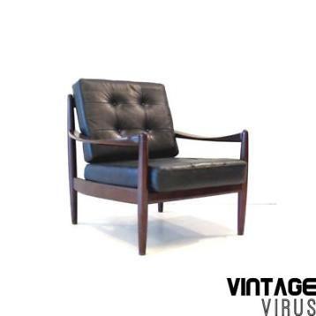 Deens design vintage retro fauteuil zwart leer '60