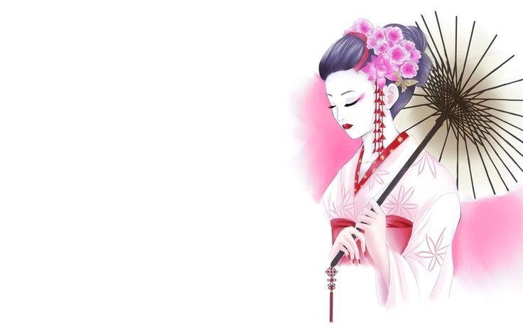 кимоно, белый фон, цветы, Арт, рисунок, гейша, девушка