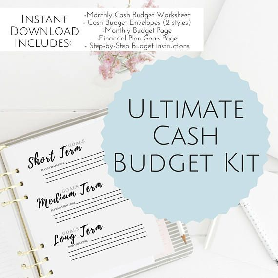 Printable Cash Budget Kit financial planner budget Budget Binder DIY Cash Envelope Printable Cash Budgeting Template Dave Ramsey Debt Snowball