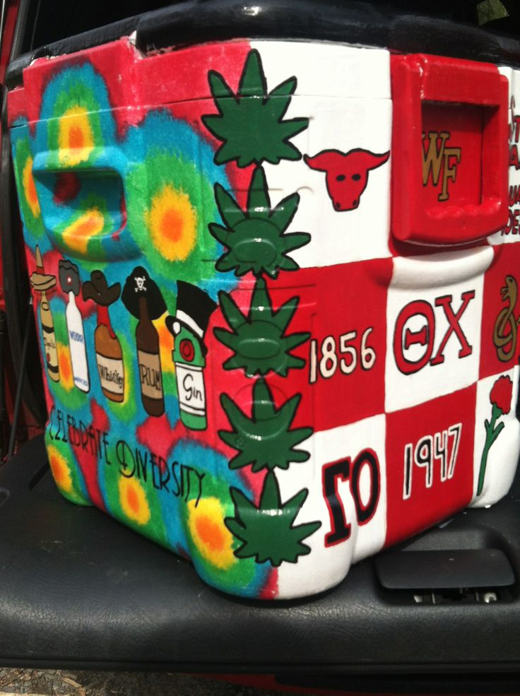 painted cooler - corners, cannabis leaves