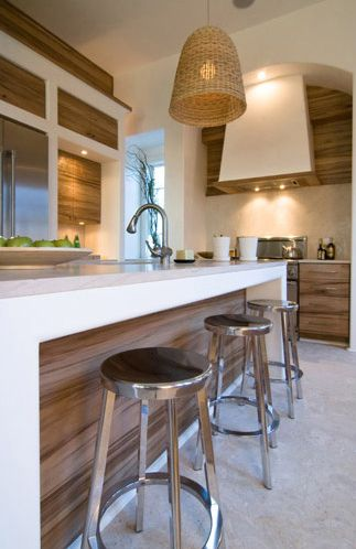 Absolutely love it! Modern beach house: Kitchen | Nice mix of modern lines and natural fixtures. Change up to Bamboo and capiz shells would be perfect!!!