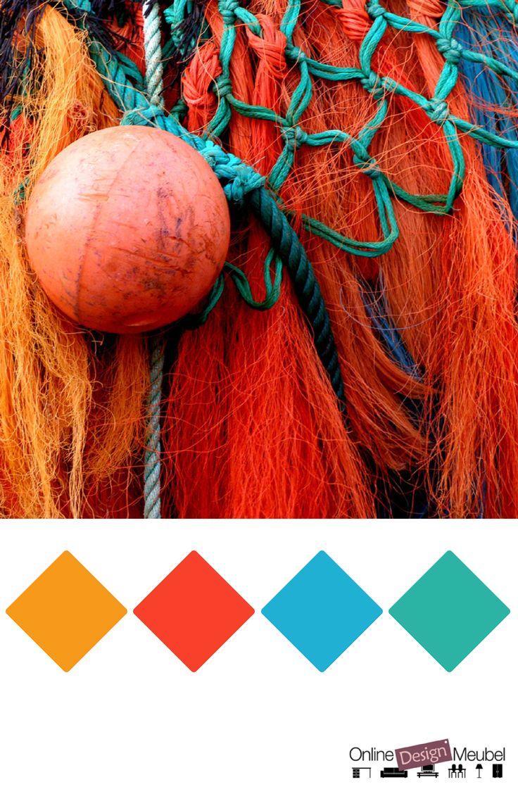 kleurenpalet met oranje, rood, groen en blauw | kleurinspiratie | fel gekleurd | wooninspiratie | leuk voor kinderkamer