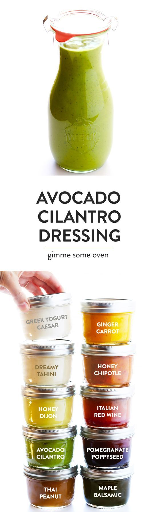 LOVE this Avocado Cilantro Dressing! It's basically everything I love about guacamole -- like fresh avocado, cilantro, jalapeno, lime juice and more -- blended up into an easy vinaigrette. Perfect for salads and more! | gimmesomeoven.com (Vegetarian / Gluten-Free / Vegan)
