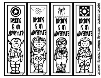 Cutest bookmarks ever! No need to go to the teacher store to purchase bookmarks for your classroom - just print these to card stock, cut, and they're ready to use! 8 different designs - featuring Melonheadz SuperHero characters. Each bookmark says: Reading is an adventure.THIS IS THE INK - FRIENDLY BLACK AND WHITE VERSION, WHICH ALLOWS STUDENTS TO COLOR THEIR OWN BOOKMARKS.