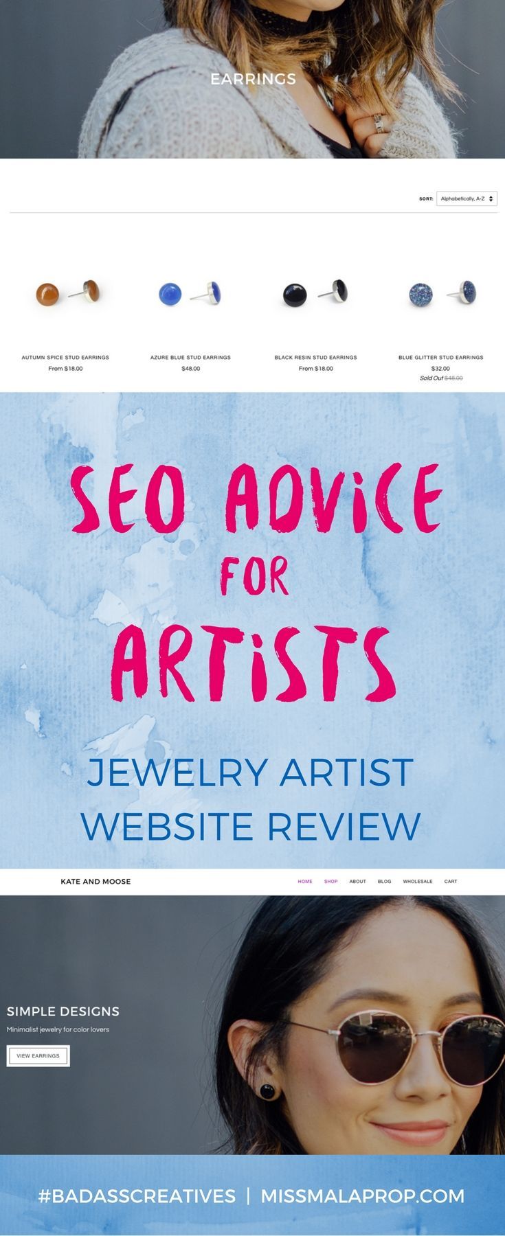 In this website review, I'm going to be offering up some SEO advice for artists by looking at the website of jewelry artist Kate & Moose. While her website looks great overall, there are some ways that this handmade jewelry website could be improved to get more search engine traffic and to sell more of Kate's gorgeous handmade jewelry.