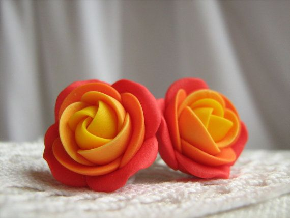 Polymer clay earrings  Red orange yellow rose by KaoriPearlRose