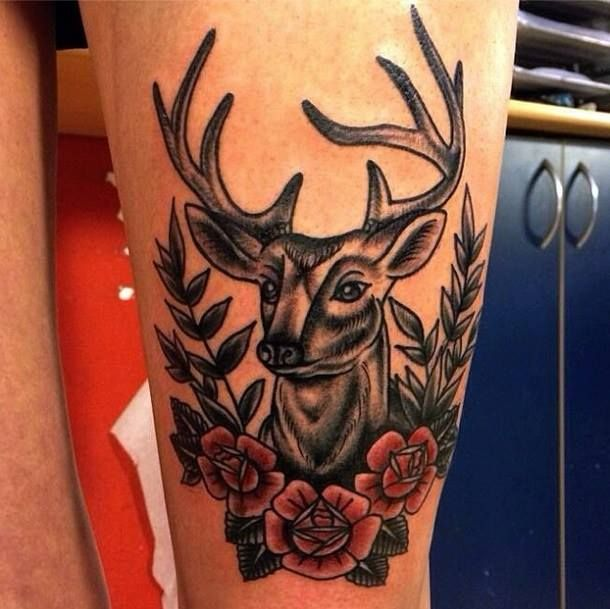 Oldschool tattoo deer by tattoo artist William Roos of StockholmInk Stockholm, Sweden