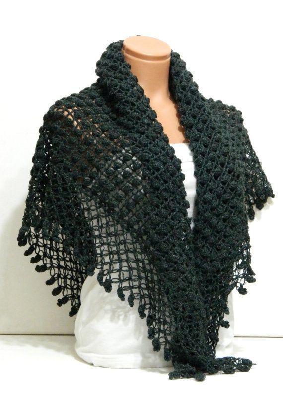 Crochet Lace Shawl Wrap ShrugDark grey shawl by WomanStyleShop, $48.00