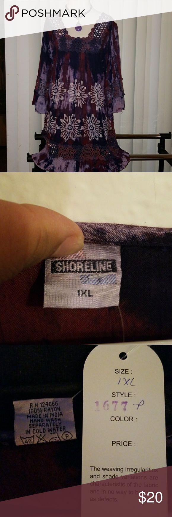 (New)1X Purple & Blue  Crochet Trim Dress! Beautiful Tunic can be wear as mini dress with leggins! Dresses Mini