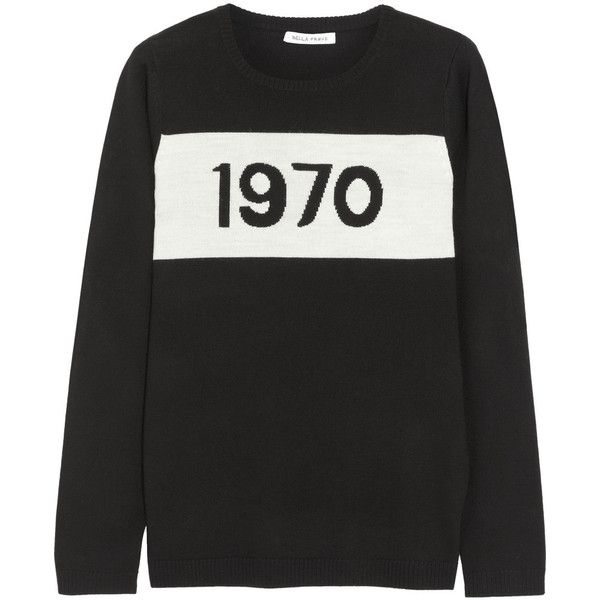 Bella Freud 1970 merino wool sweater (560 CAD) ❤ liked on Polyvore featuring tops, sweaters, jumpers, sweatshirt, black, bella freud sweater, black slip, black merino wool sweater, intarsia sweater and black top