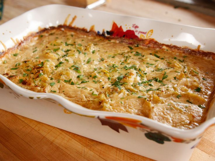 Leek and Potato Casserole recipe from Ree Drummond via Food Network - substitute gruyere for fontina cheese