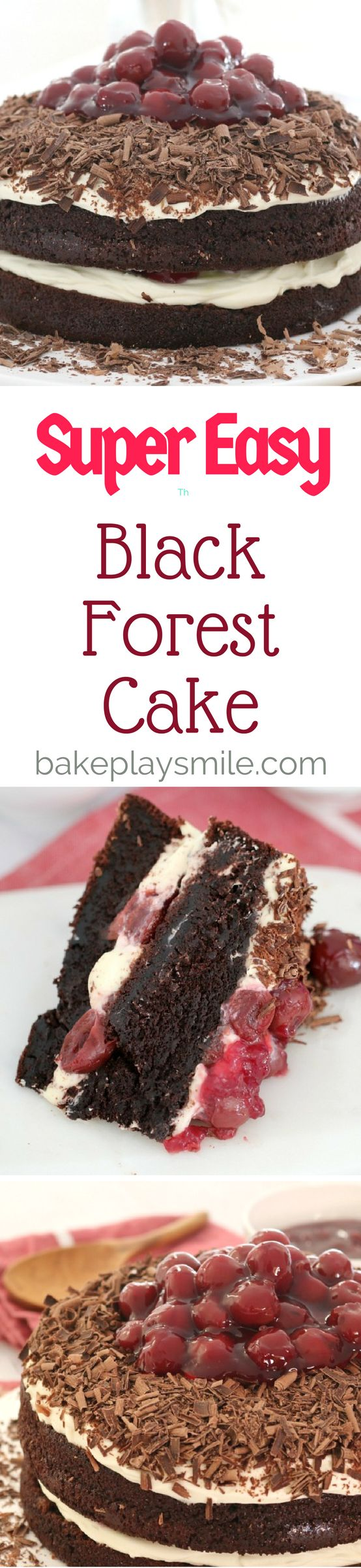 Easy Black Forest Cake  This Black Forest Cake is made with the most delicious layers of rich and fudgy chocolate cake, softly whipped cream, morello cherries, and of course, plenty of grated chocolate!   #easy #black #forest #cake #celebration #chocolate #cherry #conventional #thermomix #cream #layered