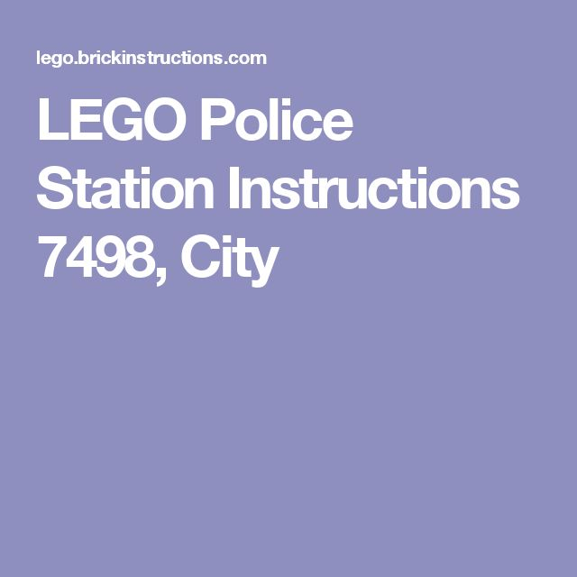 LEGO Police Station Instructions 7498, City