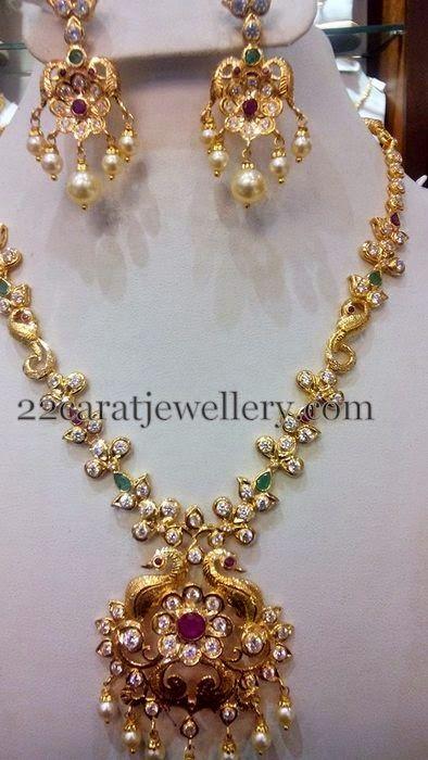 Jewellery Designs: Fancy CZ necklace 42 Gms