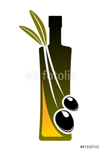 Вектор: Olive oil icon with a bottle and fresh olives