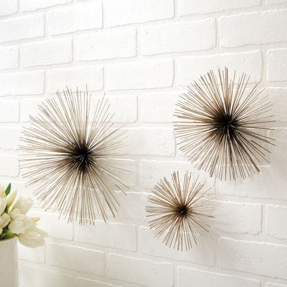 Chrome Wall Art Flowers, Set of 3
