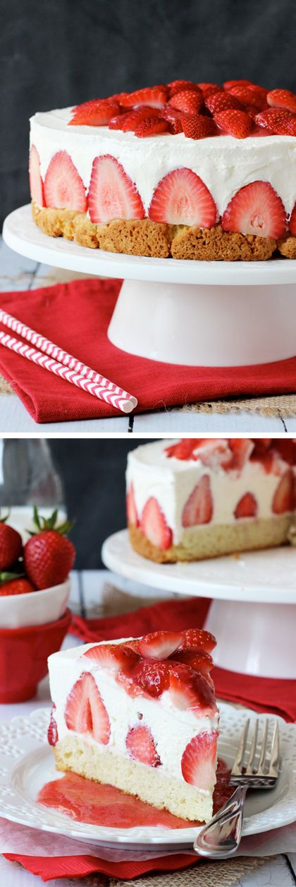 Strawberry Shortcake Cheesecake - shortcake topped with strawberries, no bake vanilla cheesecake and whipped cream! #kidsdinge