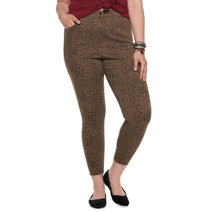 Juniors' Plus Size SO High Rise Jankle Jeans, Girl's, Size: 20, Brown Over