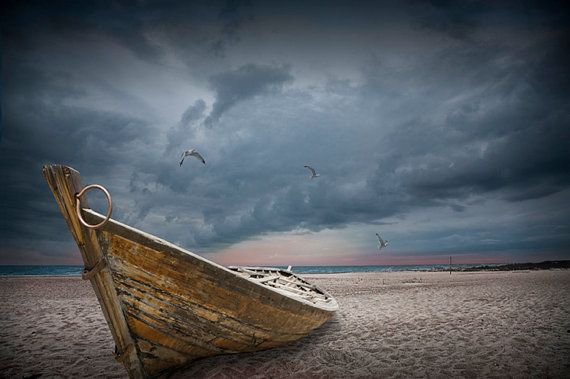 Boat with gulls on the beach with oncoming by RandyNyhofPhotos, $12.00