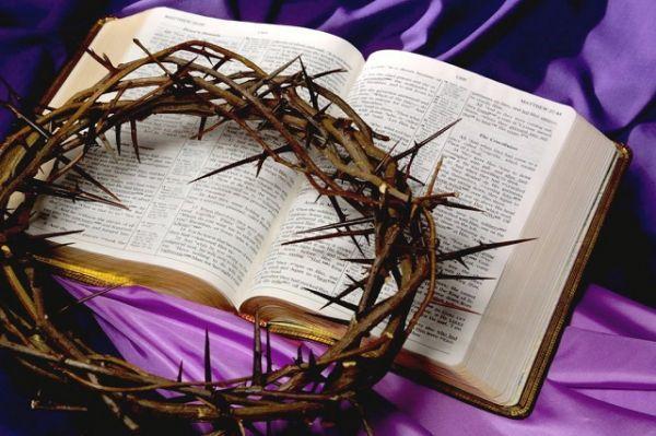 Библия и терновый венец Спасителя. Господа Христа поругали, но Он воскрес, жив и поныне, и может сострадать нам в немощах наших...