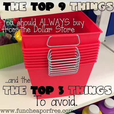 Top 9 things you should ALWAYS buy at the Dollar Store!...and the top 3 things to avoid. From funcheaporfree.com #funcheaporfree