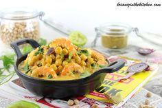 Curry de Crevettes, Pois Chiches & Epinards