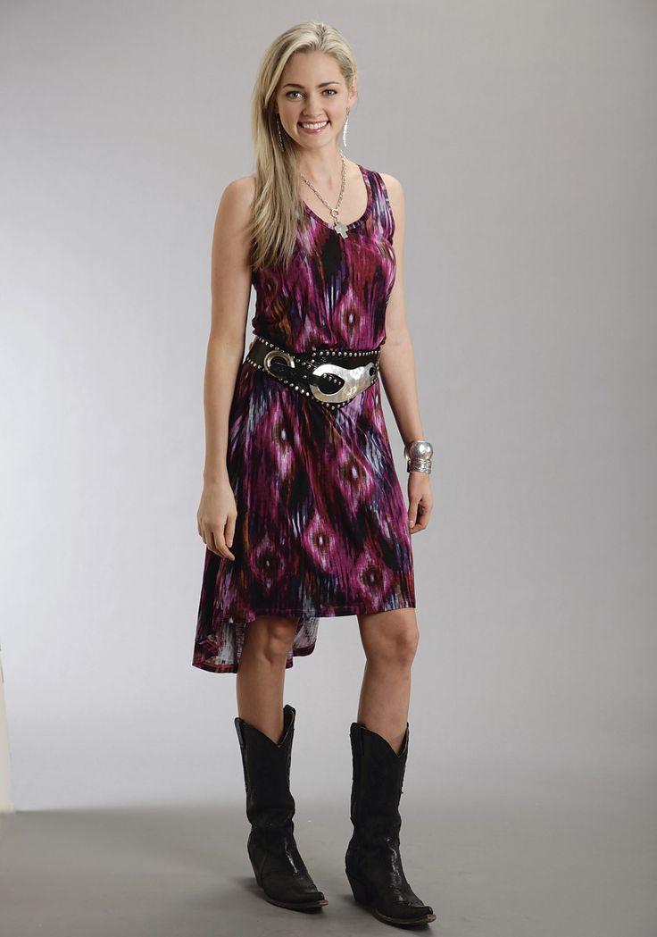 Stetson® Blue Ikat Print Racerback Western Tank Dress