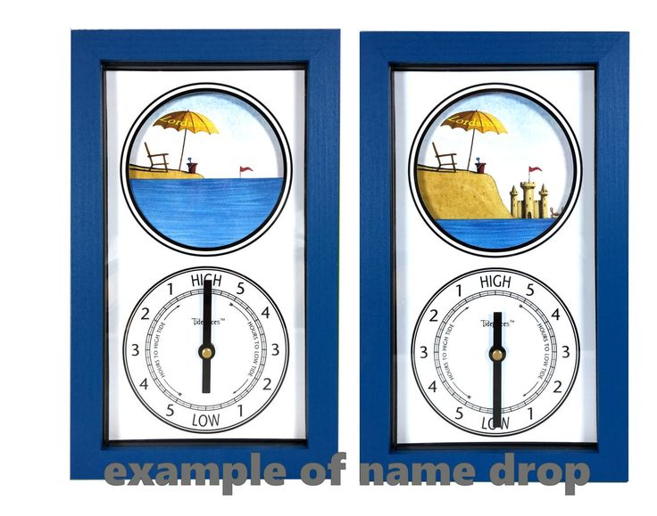 Tidepieces by Alan Winick - Beach & Sand Castle Tide Clock with Custom Name Drop
