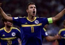 Greece 1-1 Bosnia: Dzeko sent off for pulling down opponent's shorts