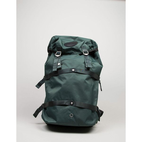 Stighlorgan Conn Laptop Backpack - Emerald Green (635 RON) ❤ liked on Polyvore featuring bags, backpacks, dark brown, water resistant backpack, laptop backpacks, military laptop backpack, military backpack and travel backpack