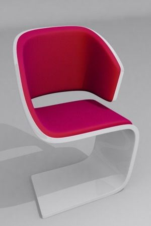 Lamed Chair © Rodolphe Pauloin an armchair, for comfort, made from plastic and material, visitors chair.