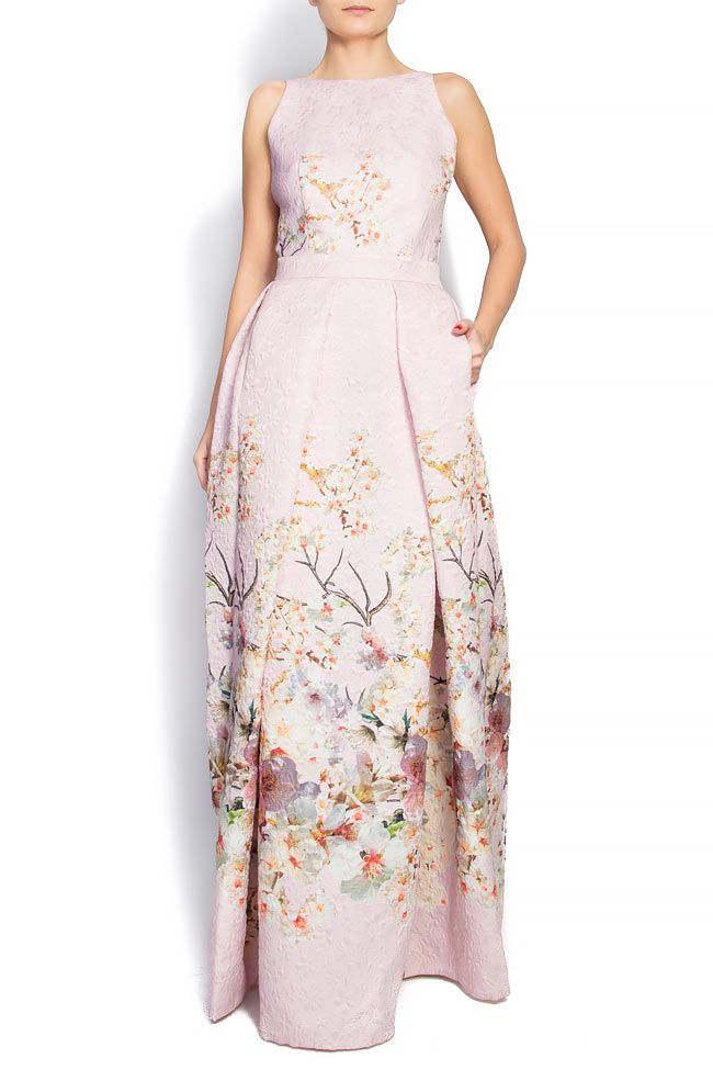 Open-back silk brocade gown - Maxi Dresses made to measure