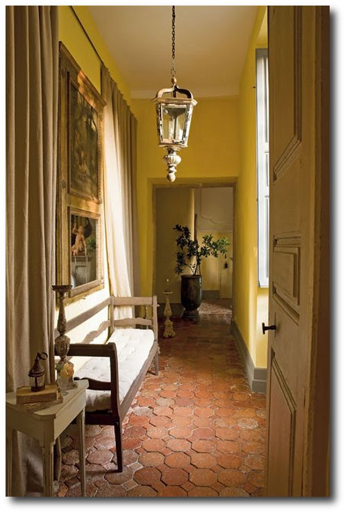 Hallway With Terracotta Tile Floor   French Country   Rustic Provence  Decorating Ideas   Mr Aurélien