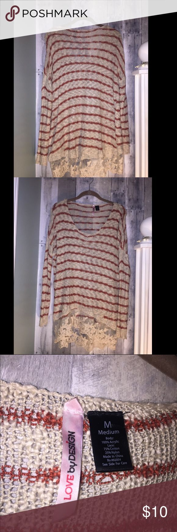 Slouchy Cream & Red Sweater This sweater is super comfy. It is Cream with brick red stripes and a lace border along the bottom of the shirt. It is a high low shirt and is longer in the back. It looks very cute with a pair of leggings or jeans. Tops Tees - Long Sleeve