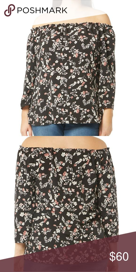 Evans Floral Bardot Top New with Tags EVANS Floral Bardot Top  For a look of timeless romance, an elasticized neckline pulls down over the shoulders of this pretty floral-print top.  - Elasticized off-the-shoulder neck - Three-quarter sleeves - 100% polyester  Size: UK 22 / US 18 Evans Tops Blouses