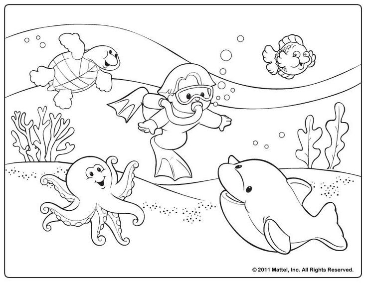 This cute snorkeling coloring picture is aimed for toddlers.