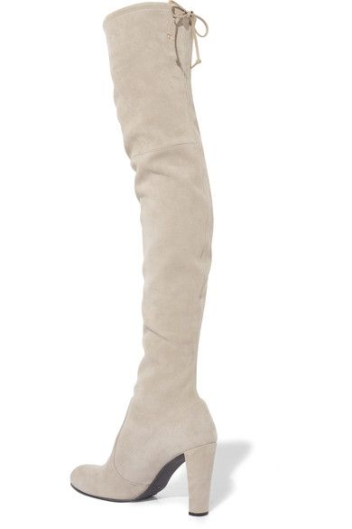 Heel measures approximately 90mm/ 3.5 inches Light-gray stretch-suede Pull on Designer color: Fossil  Made in Spain