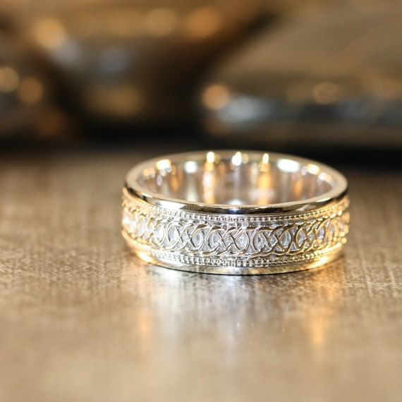 Infinity Celtic Knot Wedding Band 14k White Gold by LaMoreDesign