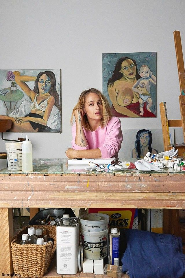 "Jemima Kirke, sister of Lola Kirke.  Known for ""Tiny Furniture.""  Her dad was the drummer for Bad Company and Free, and her mother owns Geminola, a vintage shop in NYC.  A RISD grad, she continues to paint."