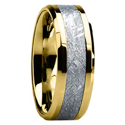 7 mm Mens Wedding Bands with 14 kt. Gold/Meteorite - G119M ...