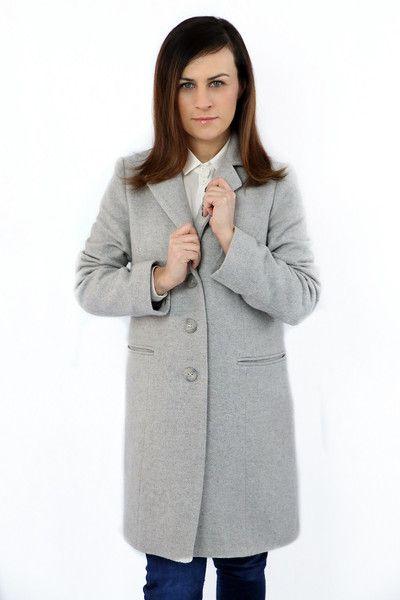 Płaszcz wełniany jasny szary - OHYEJ - Płaszcze
