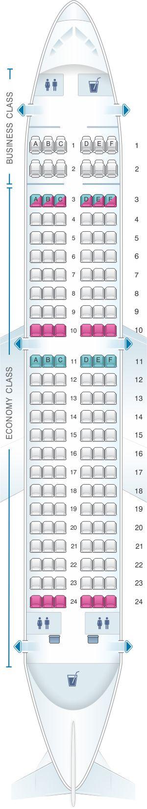 Seat Map Air Serbia Airbus A319