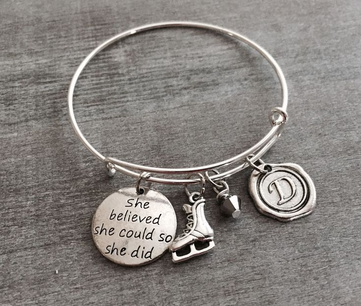 she believed she could so she did, Ice skate Bracelet, Ice skating Coach, Hockey, Figure skating, Silver bracelet, Silver Jewelry, Gifts by SAjolie, $19.75 USD