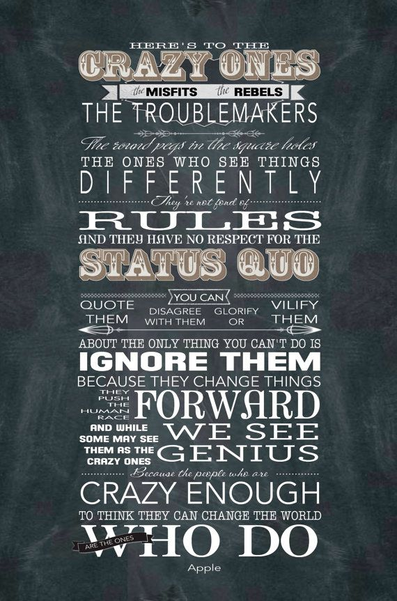 Here's to the Crazy Ones - Mounted Word Art Print - 11x14 Apple Inc. quote Steve Jobs