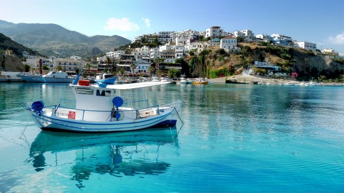 a fishingboat in the harbour of agia gallini