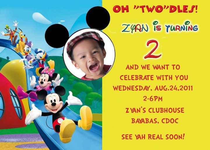 cool Mickey Mouse Photo Birthday Invitations