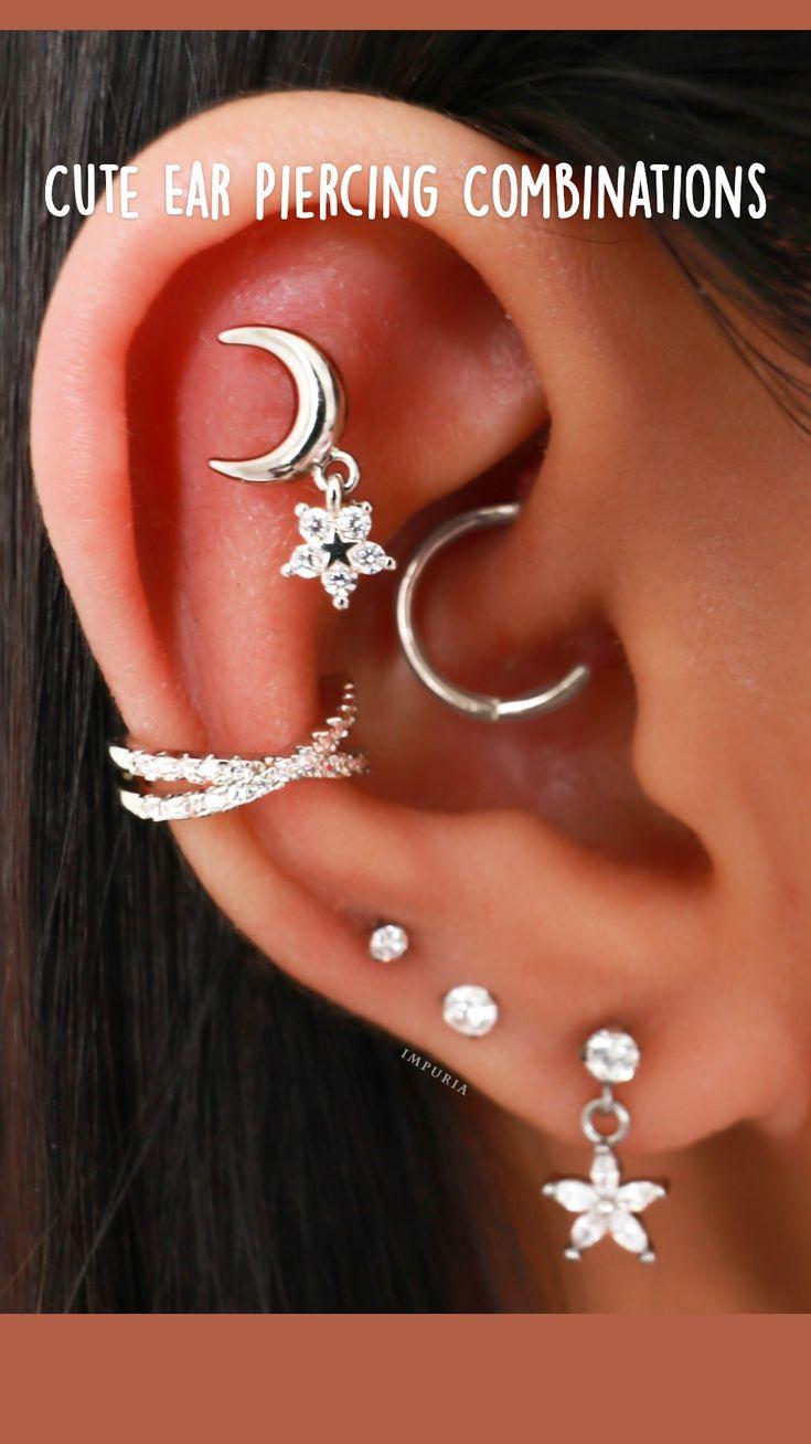 Full Ear Piercings, Multiple Ear Piercings, Ear Jewelry, Body Jewelry, Jewellery, Daith Piercing, Cartilage Earrings, Cute Earrings, Star Earrings