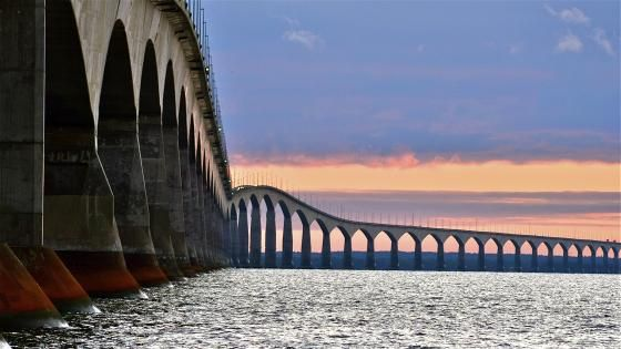 Confederation Bridge - the world's longest bridge over ice covered water spans from New Brunswick to Prince Edward Island.
