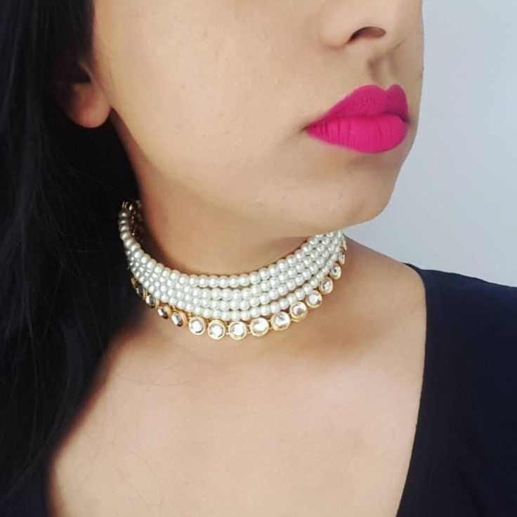 Obsessed with this pearl and kundan choker! Comes as a complete set with earrings and a Maang Tikka, or you can purchase the choker on its own. Shop now!