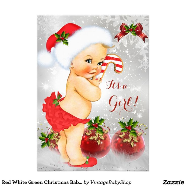 Red White Green Christmas Baby Shower Girl Blonde 5x7 Paper Invitation Card